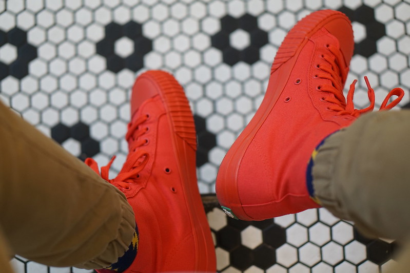Red Sneakers - Men - Black and White Floor