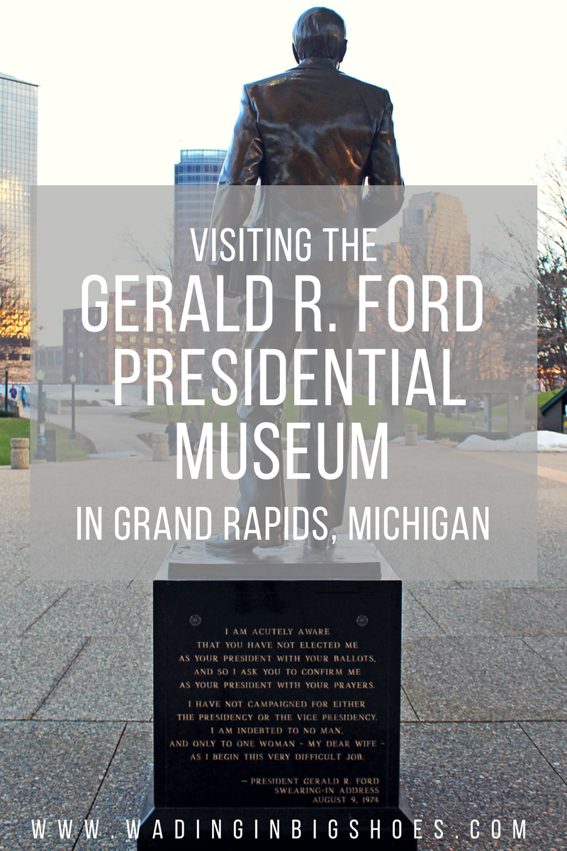 "Gerald Ford Statue at the Gerald R. Ford Museum in Grand Rapids, Michigan /// Gerald R. Ford Presidential Museum: Legacy Of An Unelected President - // The Gerald R. Ford Presidential Museum in Grand Rapids, Michigan showcases the life and career of President Gerald Ford, America's ""Unelected President."" View artifacts from Ford's past, learn about the his family life and marriage to Betty Ford, and see how a man who narrowly escaped a WWII typhoon rose to take on the challenge of running the United States during a time of extreme divisiveness. (via Wading in Big Shoes)"