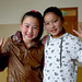 Two Mongolian girls in the hallway of their school