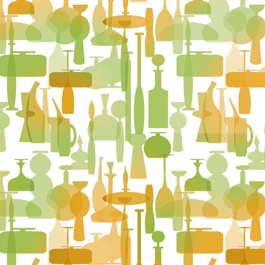 50 Modern Wallpaper Pattern: Tangerine Blenko Glass Wallpaper Pattern