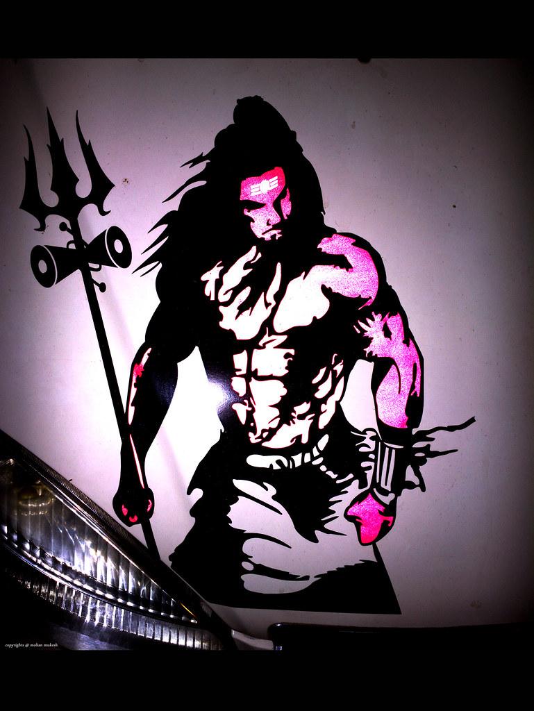 hara hara mahadev a bholenath sticker on tata indigo