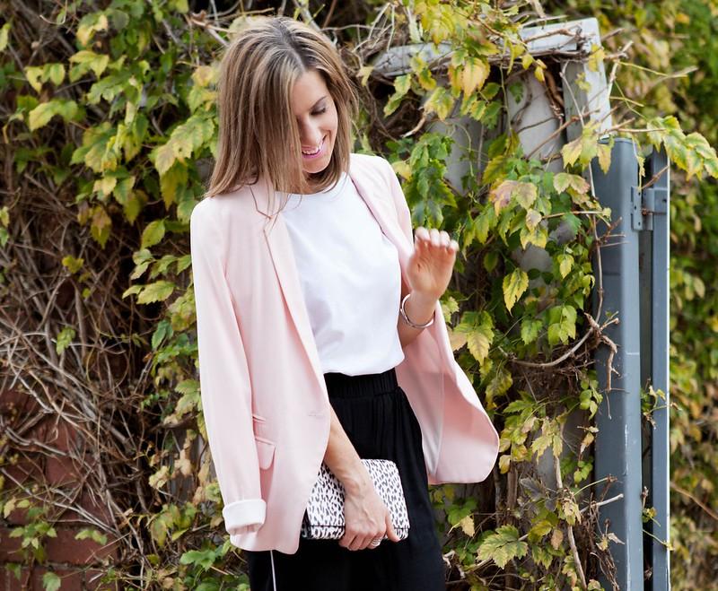 Pink blazer, Saint Laurent leopard clutch