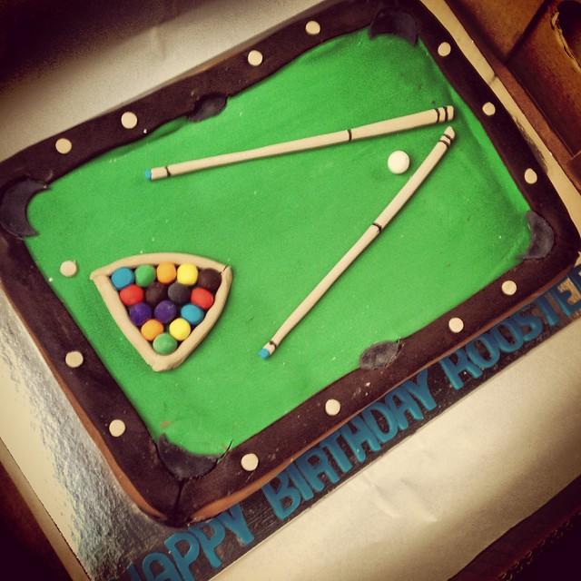 Richard's Custom-made Pool Table Cake. Happy Birthday, Roo
