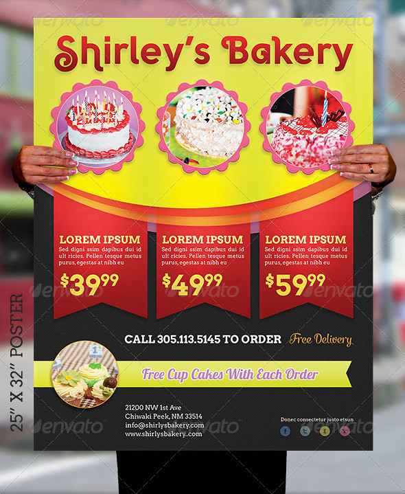 Bakery Cake Flyer and Poster Template   The Bakery Cake ...