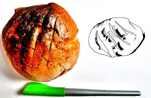dibujando/haciendo chuscos de pan