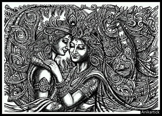 Line Art Radha Krishna : God krishna little radha rama