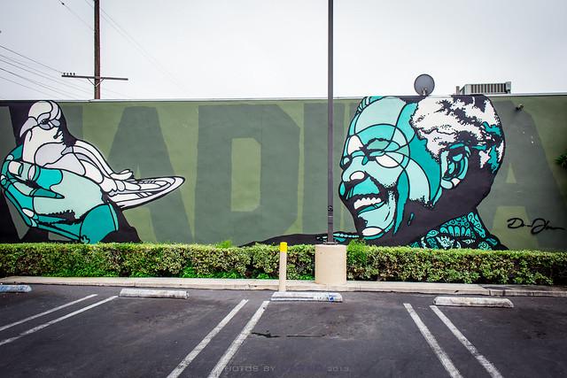 Nelson Mandela mural in Venice, California - by David Flores