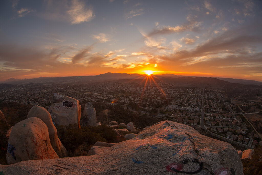 Sunset from atop a mountain in Santee, California