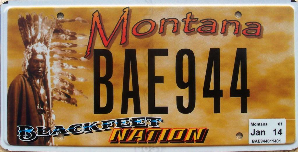 blackfeet nation license plate montana two plates are iss flickr. Black Bedroom Furniture Sets. Home Design Ideas