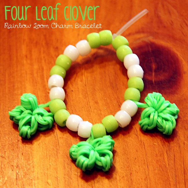 Four-Leaf-Clover-Rainbow-Loom-Charm-Bracelet
