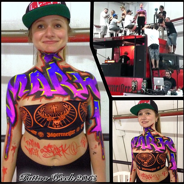 Session bodypaint com os amigos durante o tattoo week pin for Tattoos that last 2 weeks