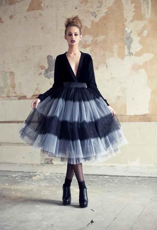 falda tul negra y gris