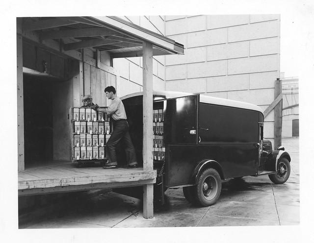 Photograph of workers unloading veteran 39 s bureau records for Bureau records