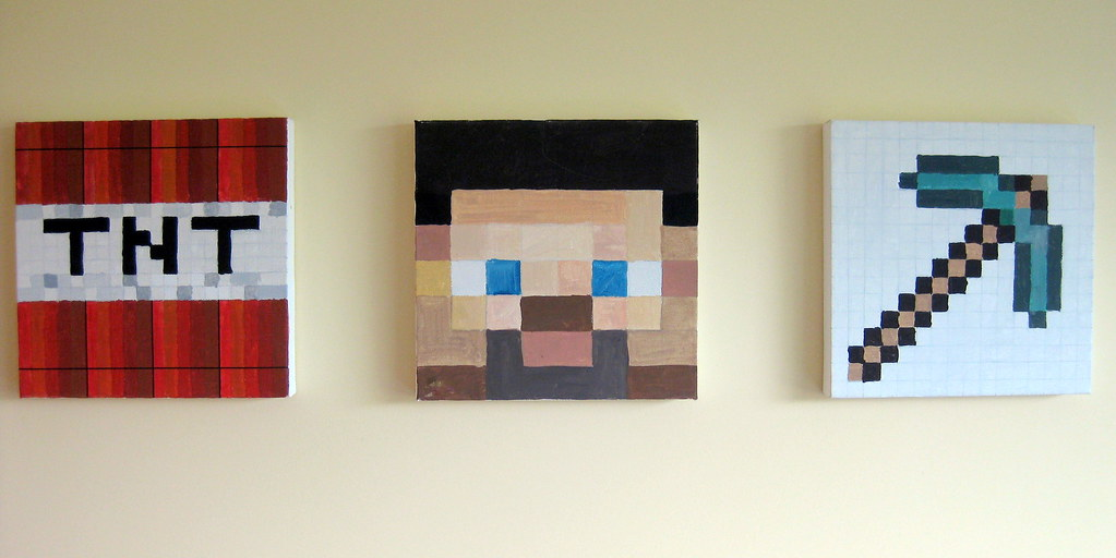 Minecraft Wall Art Canvases Painted With Minecraft Images Flickr