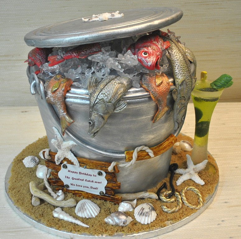 Fish bucket birthday cake fishing the cake zone florida for Bucket of fish