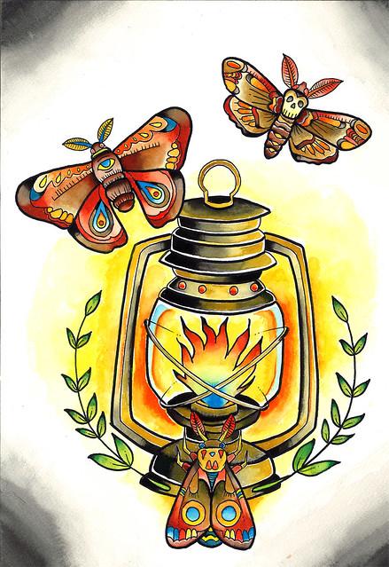 Traditional Tattoo Moth Lantern | Flickr - Photo Sharing!
