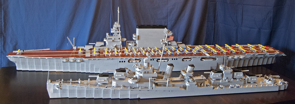 lego ship models  uss lexington and fletcher class destroy