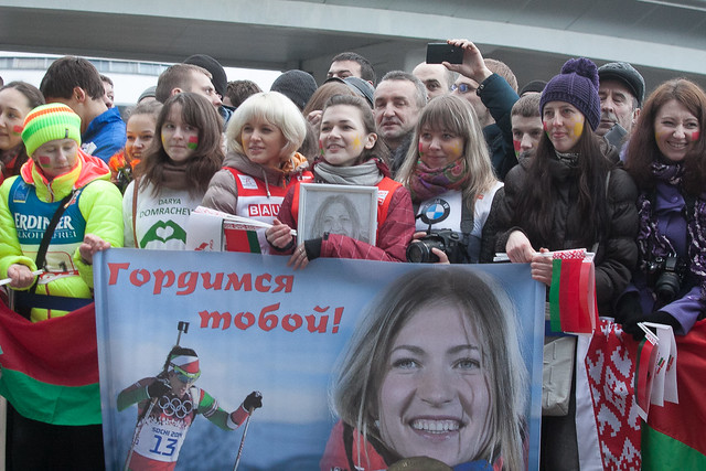 The olympic chions come back to belarus the 24th of february 2014