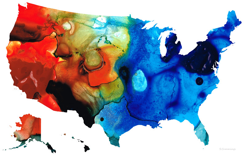 Us map 4 colorful usa maps by sharon cummings rich reds for Buy abstract art online