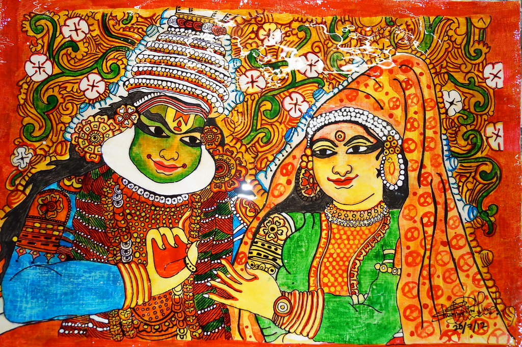 Kerala mural painting of radha and krishna shreyas for Mural painting images