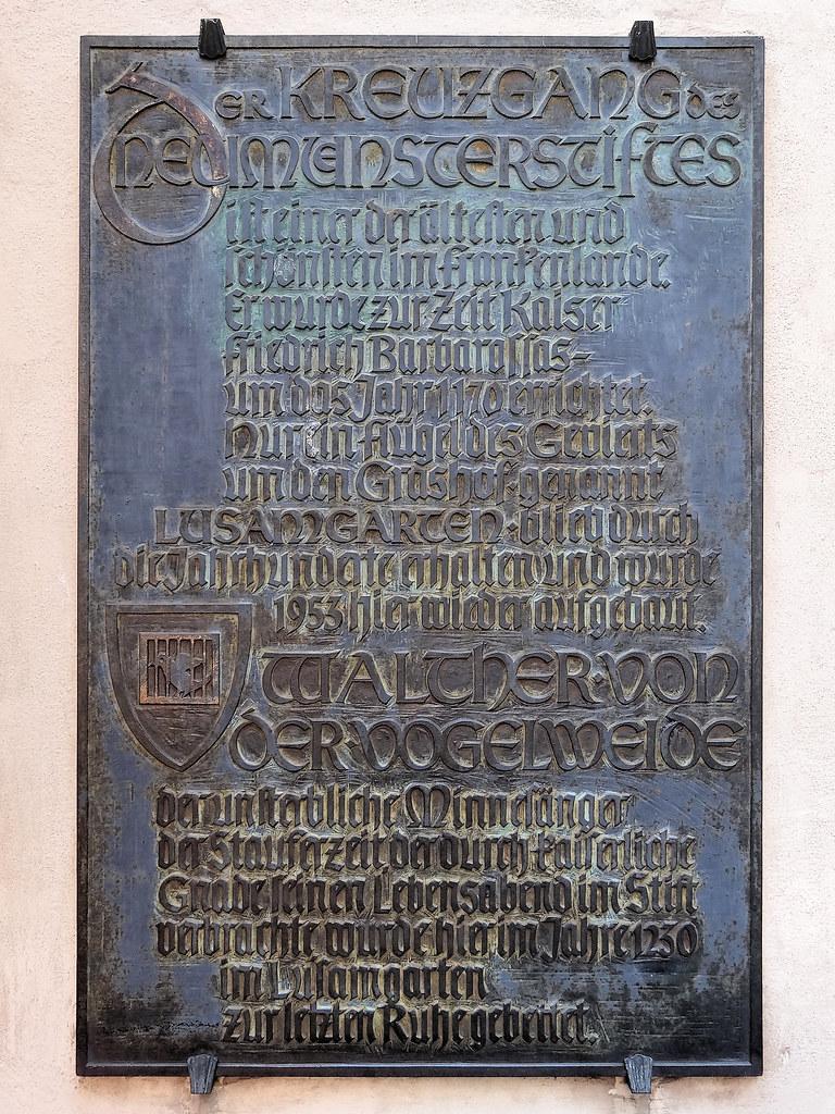 Walther von der Vogelweide | Würzburg Gedenktafel im ...