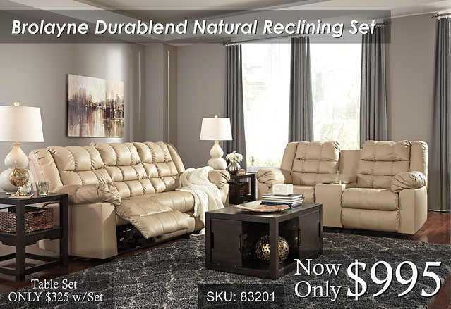 Brolayne Natural Reclining Set