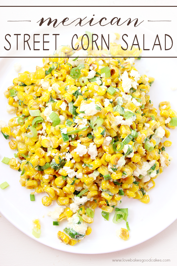 Mexican Street Corn Salad on a white plate.