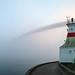 Prospect Point Lighthouse and Lion's Gate Bridge, foggy