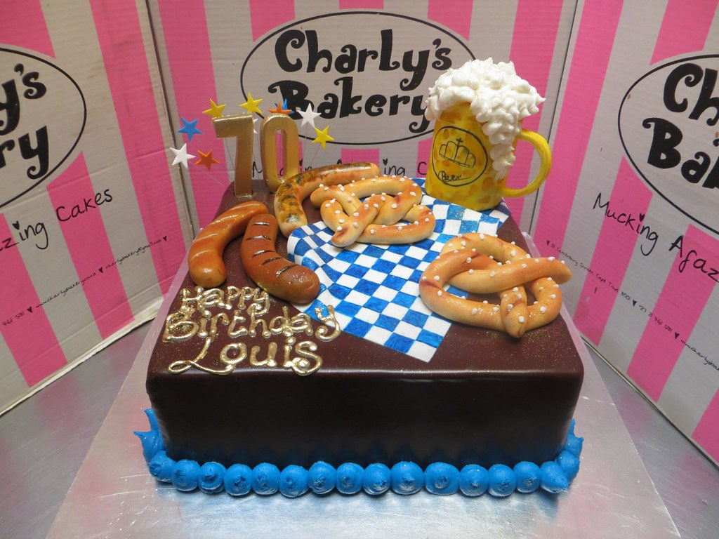 Square Wicked Chocolate cake with 3D Oktoberfest fondant d