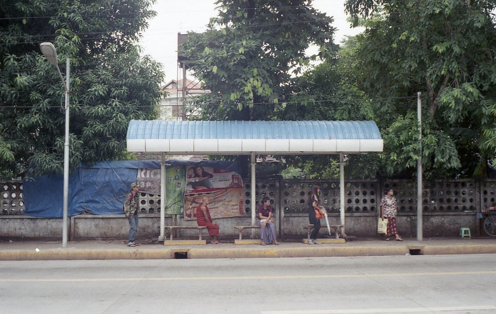 a bus stop yangon myanmar minolta 7sii rokkor f1 7 lens flickr. Black Bedroom Furniture Sets. Home Design Ideas