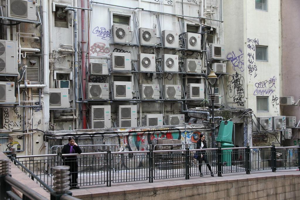 Wall Of Air Conditioner Condensers Soho Central Hong Kong