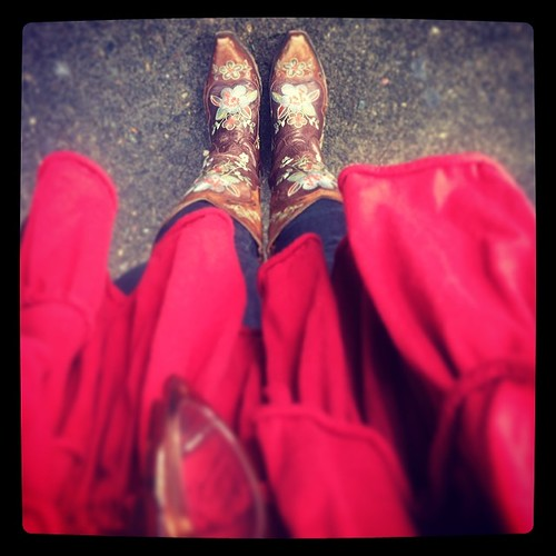 It's reds, ruffles, and boots around here today. #sundayfunday