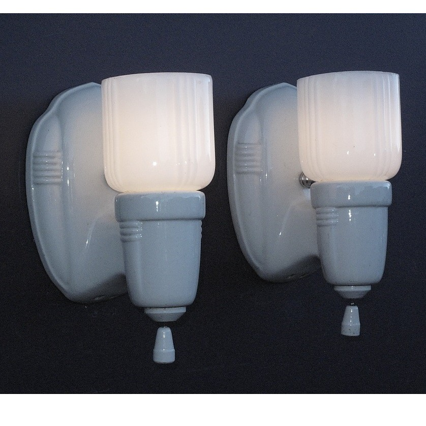 Vintage Ceramic Wall Lights : *vintage white porcelain wall sconces vintagelights.com Flickr