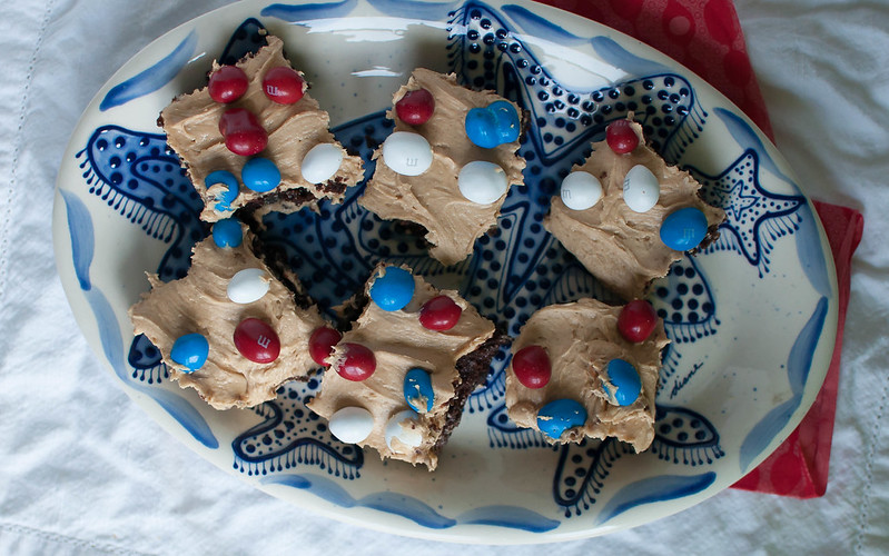 Patriotic Peanut Butter Frosted Brownies 3