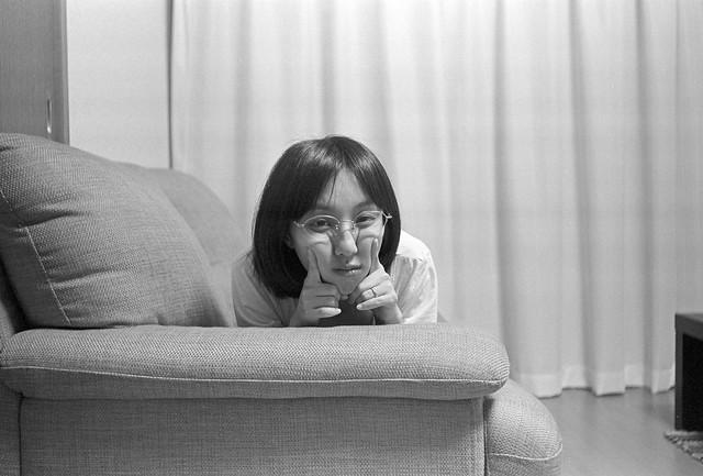 Elmar 35mm/f3.5開放で妻を撮る