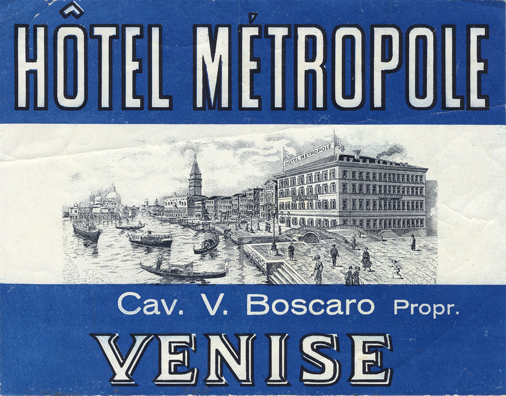 hotel metropole venice italy art of the luggage label flickr. Black Bedroom Furniture Sets. Home Design Ideas