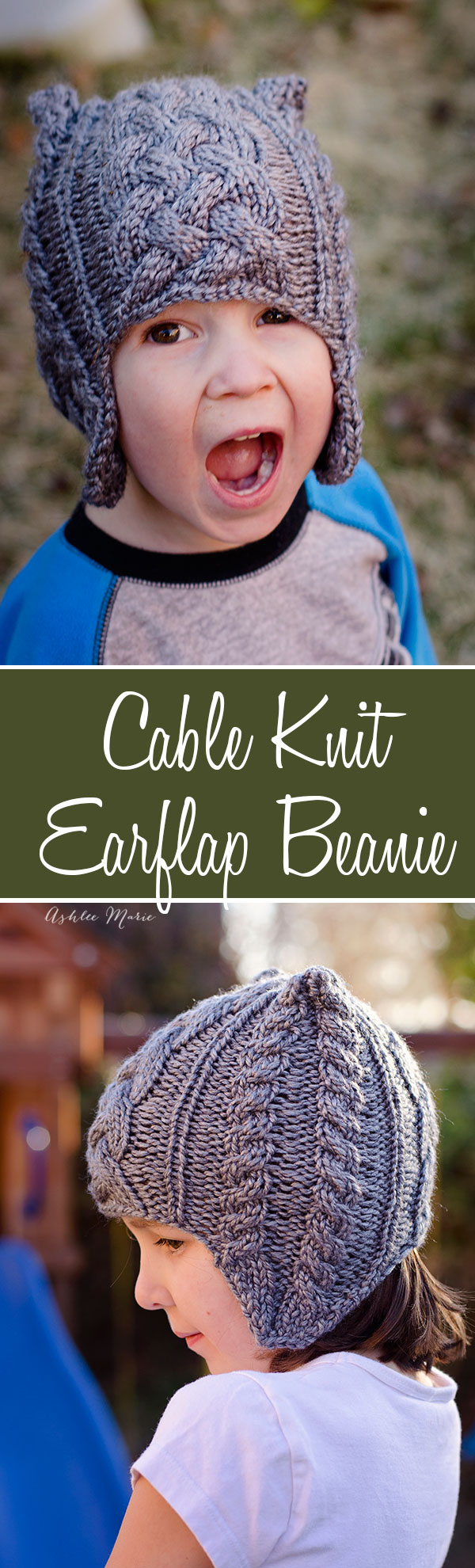 Cable Knit Beanie pattern with earflaps- child | Ashlee Marie - real ...