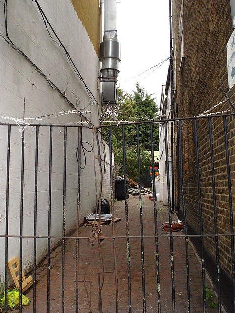 An alleyway viewed through the thin, rusty bars of a tall gate.  The alleyway is relatively uncluttered, though does have a few bits of detritus dumped here and there along the side walls.  A tree is visible at the end.