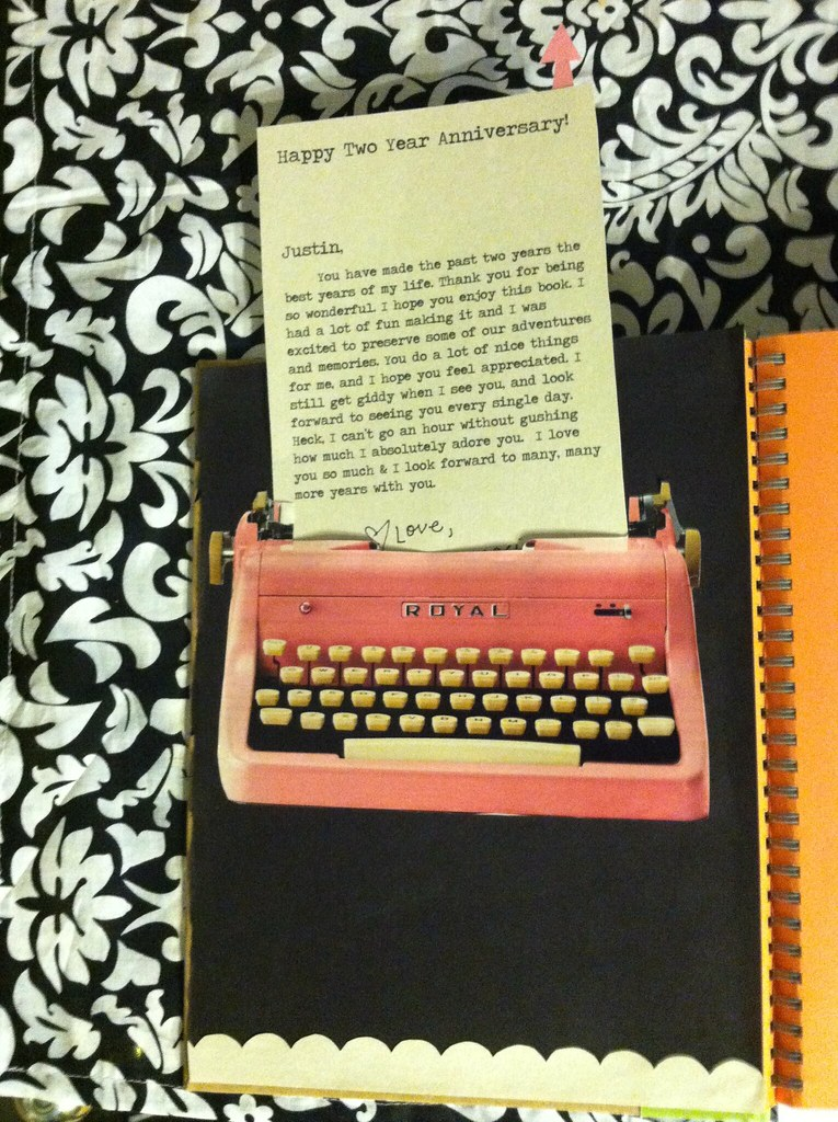 Book Cover Ideas Boyfriend : Concealed typewriter letter the inside cover of book
