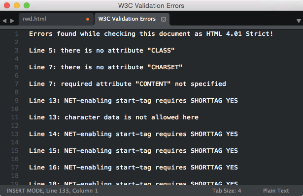 sublimetext-W3C Validation