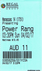 Power Rangers ticketstub
