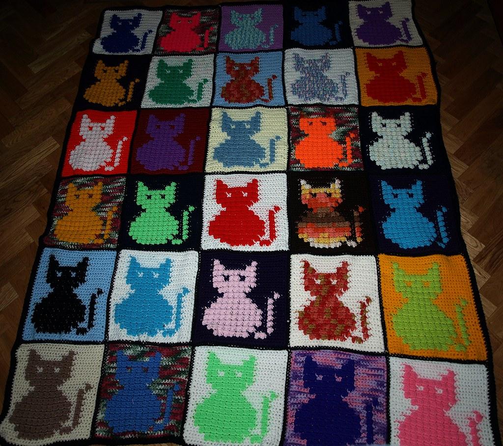 Knitting Pattern Cat Blanket : Cats scrap blanket for Winnie Olympus digital camera Flickr