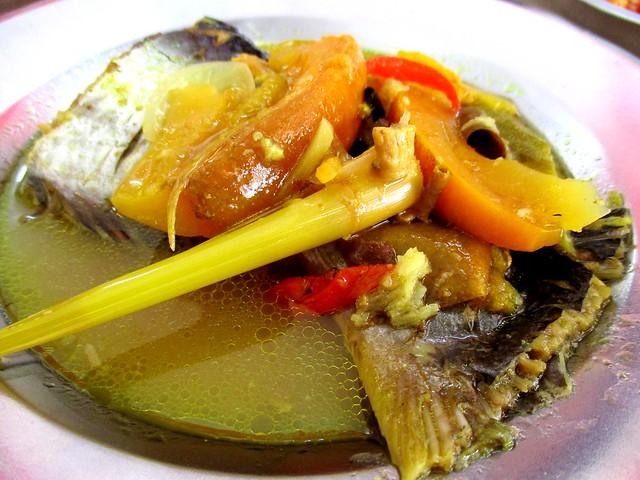 Anak Borneo ikan patin masak kunyit terung Dayak