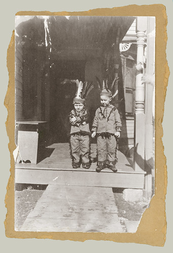Two children on the front steps