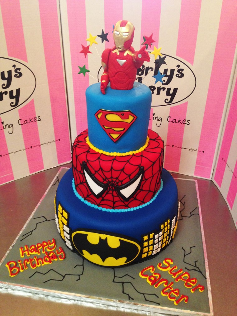 3 Tier Super Hero Themed Cake With Iron Man Cake Topper