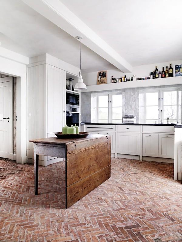 Kitchen White Floors Dark Cabinets