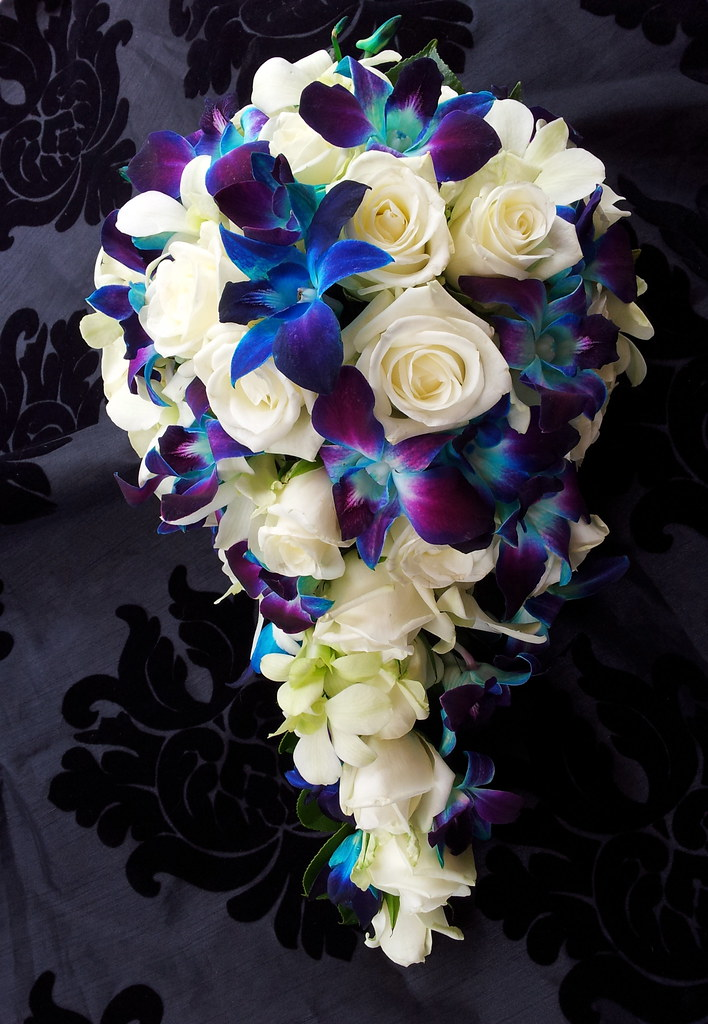 White Rose And Blue Orchid Bouquet Www Fbdesign Com Au
