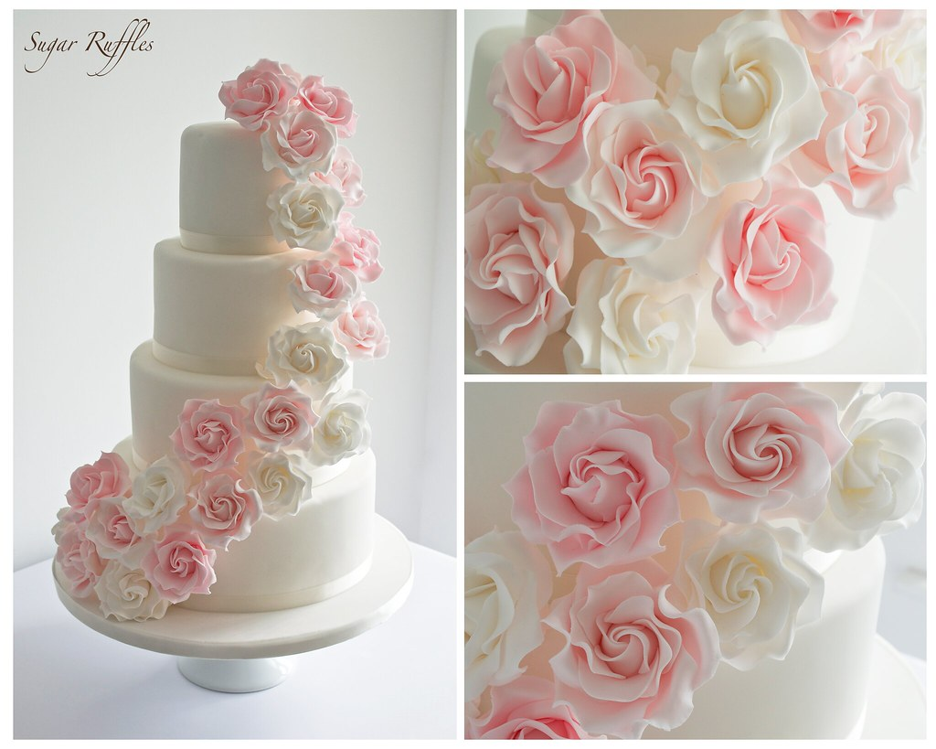pink rose wedding cake pink cascade wedding cake flickr 18587