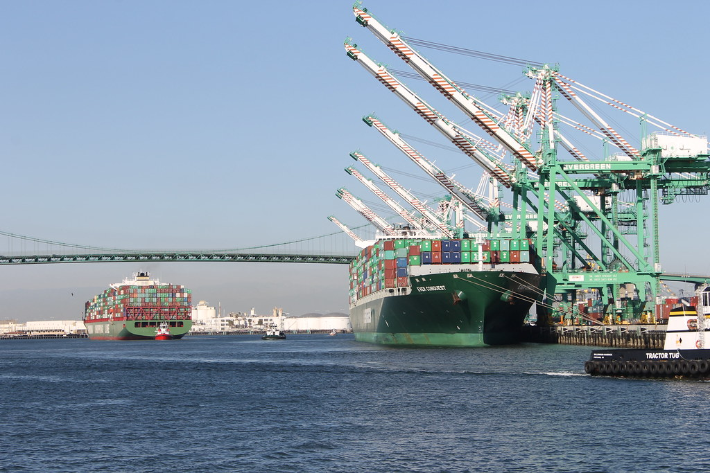 Ever Conquest Evergreen Container Ship At The Port Of Lo