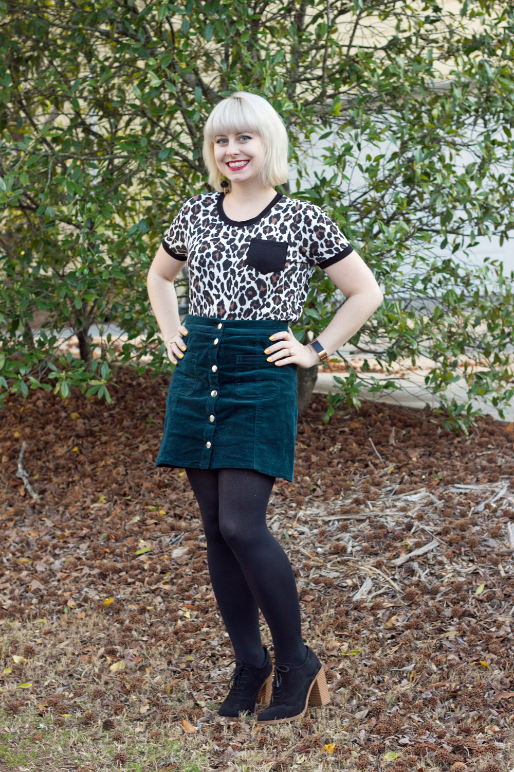 Boohoo Leopard Print Pocket Tee, Dark Green Corduroy Button Up Skirt, Black Block Heel Boots
